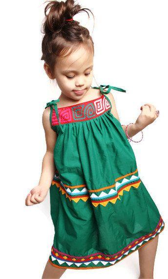Girls Vintage Ikat Aztec Children's Dress / Children's Dress / Dresses / Cinco De Mayo / Frida Kahol / Day of the Dead / 1455. $54.00, via Etsy.