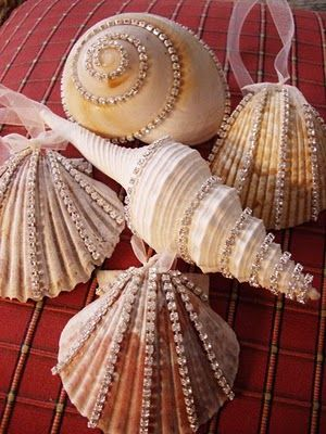 Blinged-up seashell ornaments.