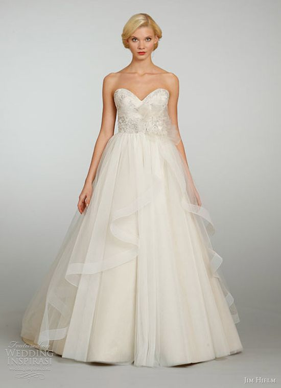 jim hjelm bridal spring 2013 tulle ball gown crystal embroidered sweetheart cascade skirt chapel train