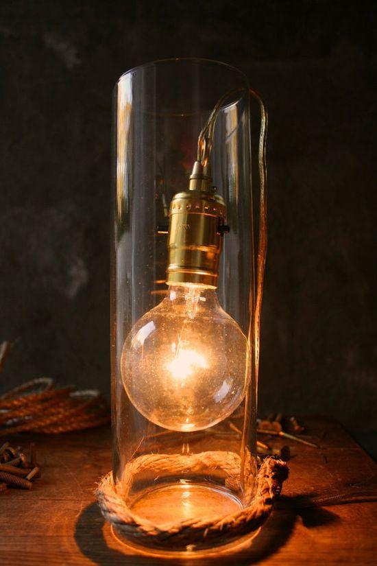 Glass Lamp Glass Lighting Modern Lighting Minimalist Rustic Decor Shabby Chic Lamp