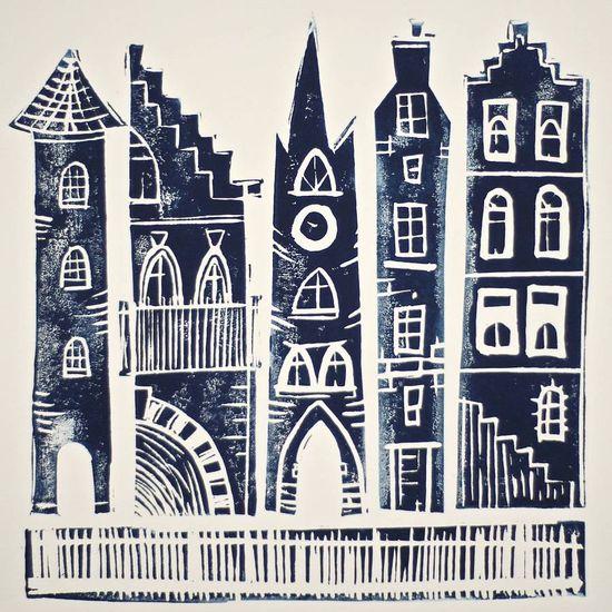 Small City Original Linocut Print