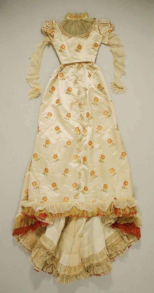 Evening dress  House of Worth  (French, 1858–1956)  Designer: Charles Frederick Worth (French (born England), Bourne 1825–1895 Paris) Date: ca. 1892 Culture: French Medium: silk