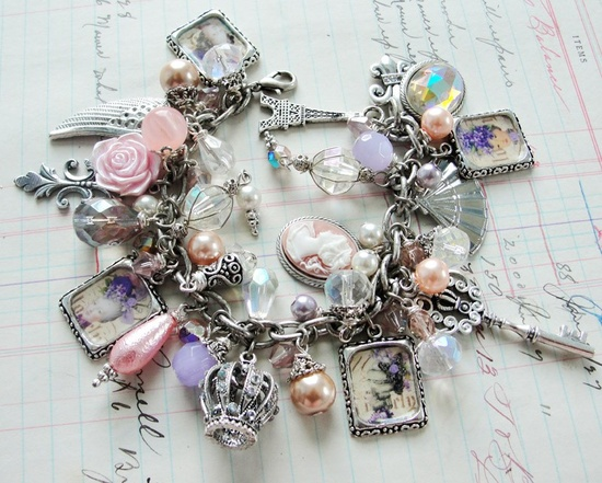 ? Rosey Marie Antoinette Royalty Lavender and Pink Charm Bracelet