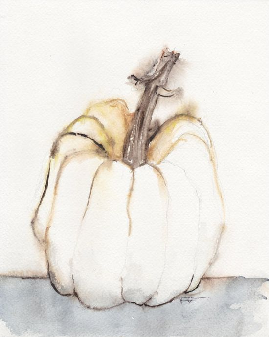Autumn Pumpkin Halloween Watercolor painting art Still by FrancinaMaria