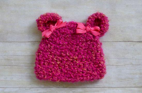 Baby Bear Beanie / Baby Girl Crochet Hat / by SweetnessInSmyrna