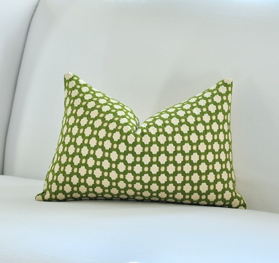 """SPRING SALE - Schumacher Betwixt in Grass 12""""x18"""" Pattern on the front"""