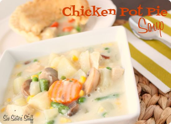 Chicken Pot Pie Soup from sixsistersstuff.com.  All the goodness of chicken pot pie but with a fraction of the calories! #recipes #soup #chicken