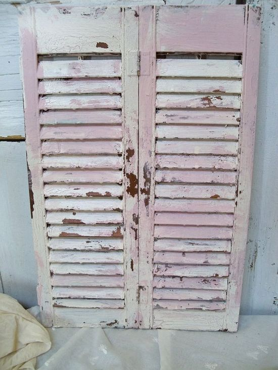 Vintage cream and pink shutter wooden shabby by AnitaSperoDesign, $52.00