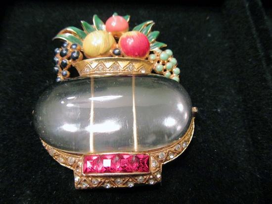 Vintage Coro Jelly Belly Fruit Basket Pin. #vintage #jewelry #brooch