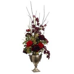 Stunning Artificial Red Rose & Orchid Silk Flower Arrangement