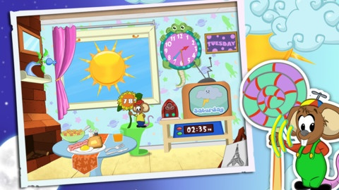 Weather and Clock for Kids ($1.99 - FREE on 6/15/13)  A funny speaking mouse tells them in real time: -current temperature -weather forecast for the next 7 days -the current time -the current day