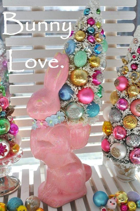 bunny bottle brush pink tree easter bottlebrush paper mache rabbit