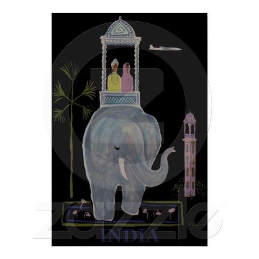 Vintage India Elephant Travel Poster