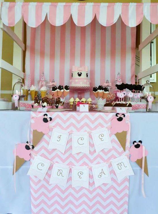 Minnie Mouse Ice Cream Party full of cute ideas via Kara's Party Ideas KarasPartyIdeas.com #minniemouse #partyideas #supplies #birthday #icecream