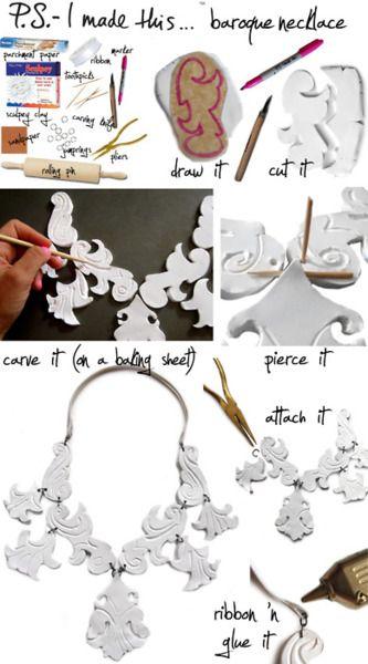 diy proenza scroll necklace polymer clay jewelry