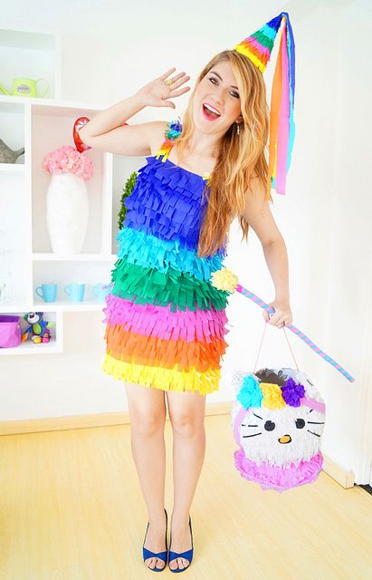 Homemade Piñata Halloween Costume -- Tutorial on the blog!