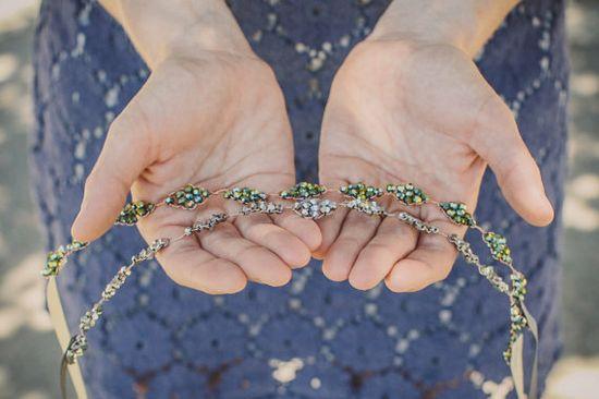 Diamond Crown - Silver or Green Iris Hand Beaded by AcuteDesigns, $70.00 #handmade #headband #sparkle