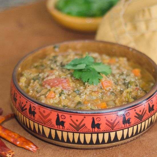 Red Lentil and Quinoa Soup by simpleawesomecooking: Both lentils and quinoa are used in a classic Peruvian soup, menestra de lentajes, that may also include ginger, coconut milk or bacon.  But, by leaving out the heavy ingredients and bringing in more vegetables like red pepper and spinach, this makes it more of a traditional vegetable stew....or even a Peruvian vegetable chili.  #Soup #Lentil #Quinoa