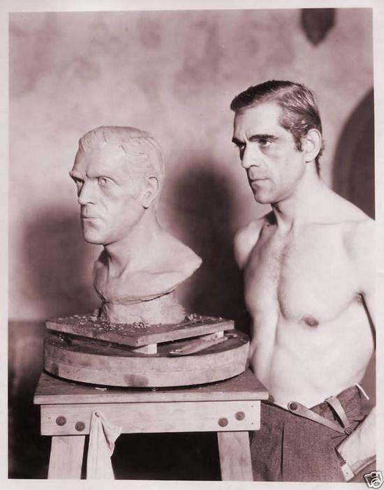 Boris Karloff in Jack Pierce's makeup studio preparing for The Mummy
