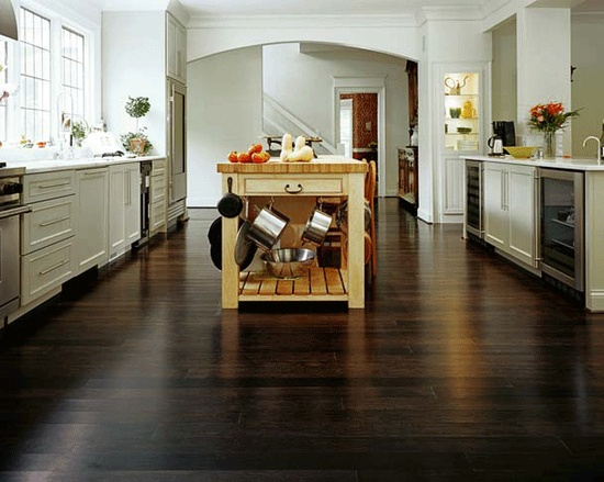 dark stained bamboo floors