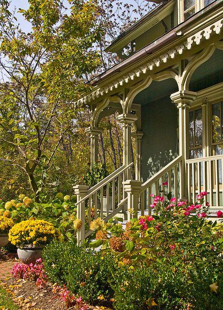 wonderful Victorian front porch and garden.