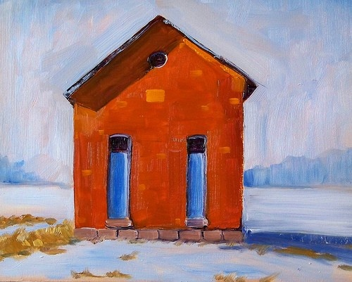 Oil Painting School House Original Landscape by smallimpressions, $110.00