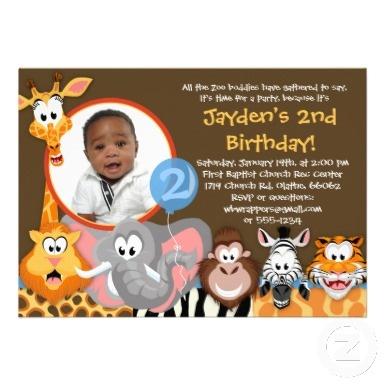 Wild Zoo Animals Birthday Party Photo Invitation