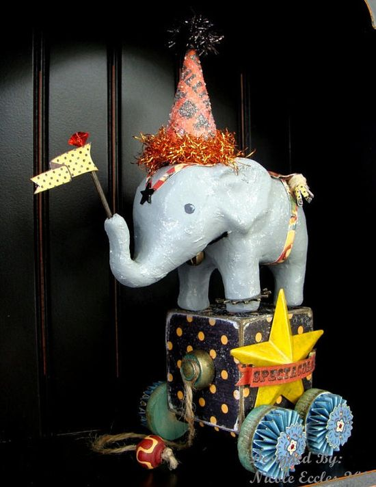 Vintage inspired elephant pull toy