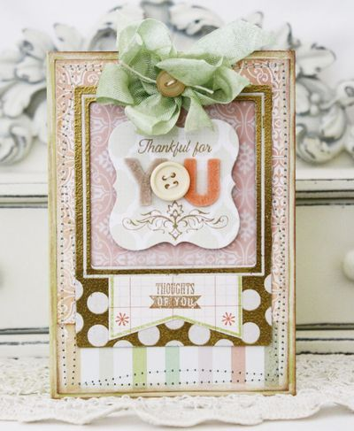 Lovely layers, hues and blend of patterns in this card by Melissa Phillips. #card #handmade #scrapbooking #crafts