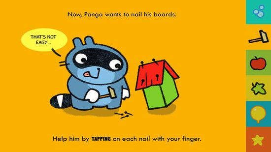 Pango Book 1 Free ($0.00) TOUCH, SHAKE, RUB, SCRATCH, TICKLE... the young reader interacts with the book and drives the story forward.   Funny adventures, animated stories, brightly coloured drawings and sweet characters. Try PANGO !