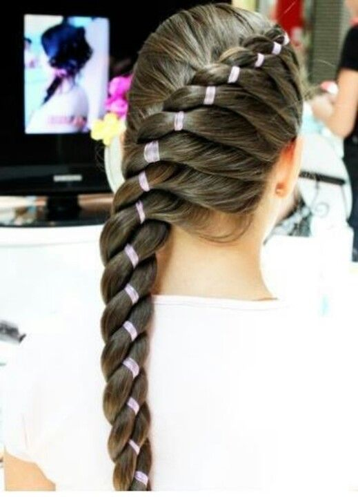 woah! rubber bands in a braid? cool!