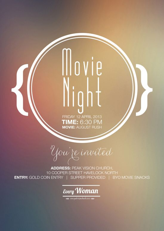 A poster I designed for Peak Vision Church for their movie night with the girls. Check out my graphic design work on www.polliblog.com