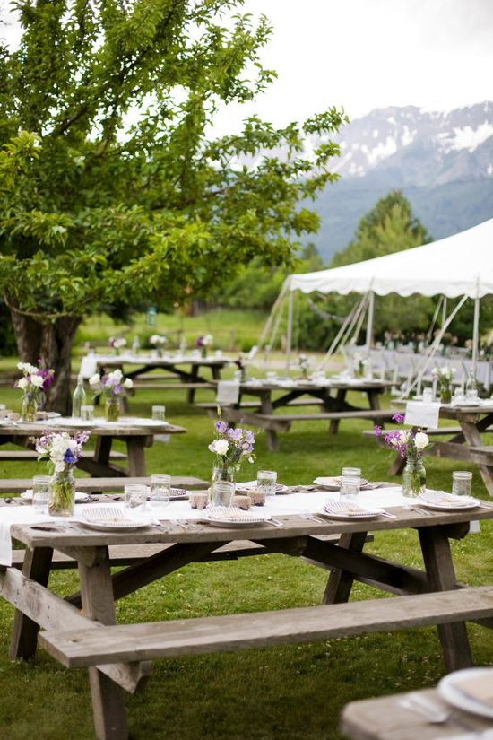 Picnic table wedding reception showing just the runner