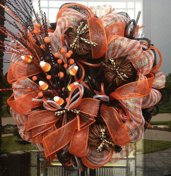 Sweet Candy Corn Fall deco mesh Wreath by DzinerDoorz