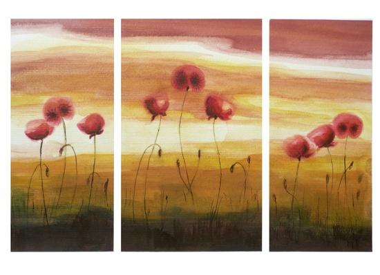 Triptych - Joyful Poppies - Watercolor Painting - Set of 3 Original Flower Paintings by Artdora