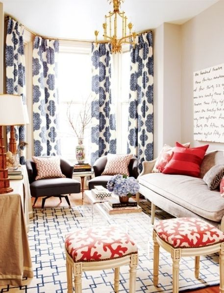 Geometric red, white, and blue. Fearless mix of patterns.