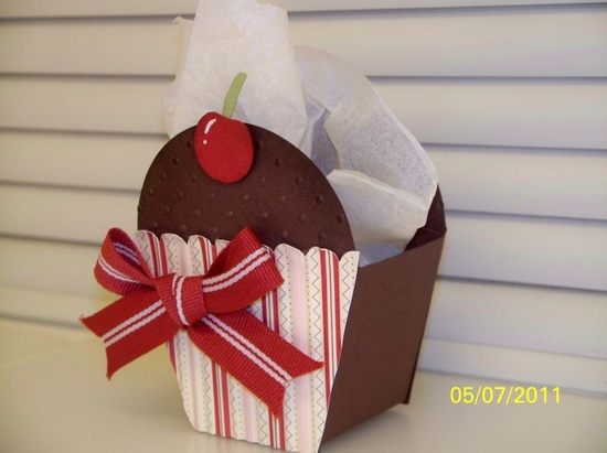 Stampin Up, petal cone die. Made into a cupcake!