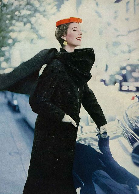 """Model is wearing a nubby black wool woven coat with gilt lurex threads."" #vintage #fashion #1950s #hat"