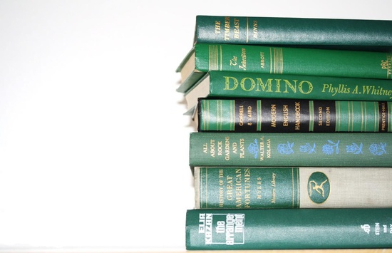 Vintage 7 Book Green Collection Interior Design Vintage Book Decor. $37.95, via Etsy.