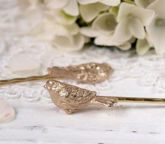 Solid Bronze Beloved Bird Hair Pins