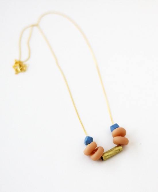 limited edition mixed bead necklace in nude pink and blue. $38.00, via Etsy.