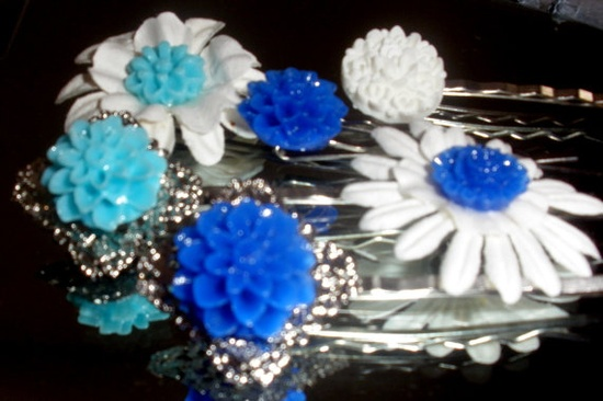 Brilliant Blues set of 6 bobby pins hair accessories lot flower cabochons silver filigree base aqua. $15.00, via Etsy.