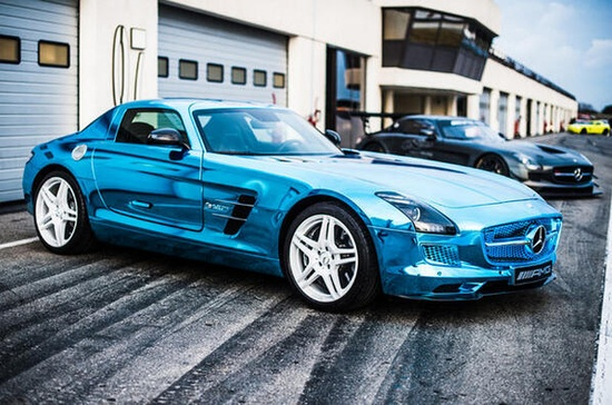 Worlds fastest electrically-powered sports car is the SLS AMG Gullwing E-Cell. Its awesome