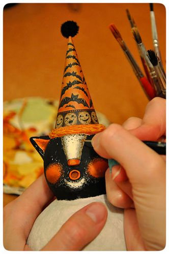 One of a kind papier mache Halloween cat designed by folk artist Johanna Parker for Celebrate365 Magazine's Behind the Design artist feature ~ a step by step article explaining Johanna's design process.