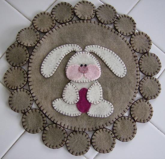 Easter Bunny Wool Penny Rug Sale. $20.00, via Etsy.
