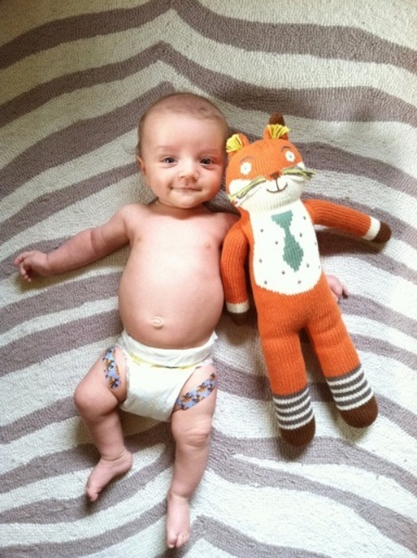Socks the Fox with little Levi