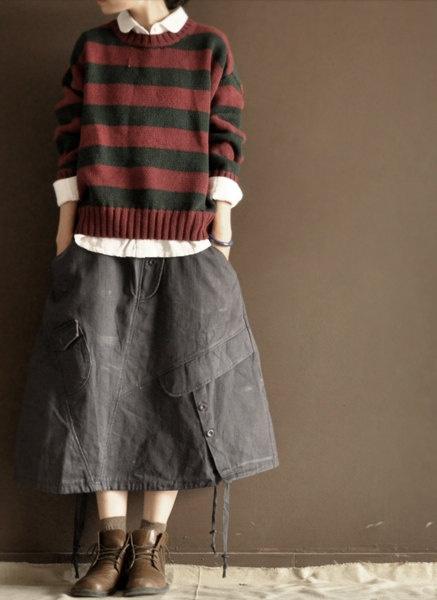 Grey  cotton  skirt  linen skirt.  via Etsy.