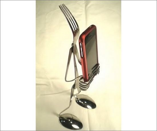10 best iPhone DIY projects and crafts that are cool and inexpensive to make including this Cutlery iPhone Dock.
