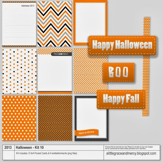 Printable -- Halloween Journal Cards and Embellishments