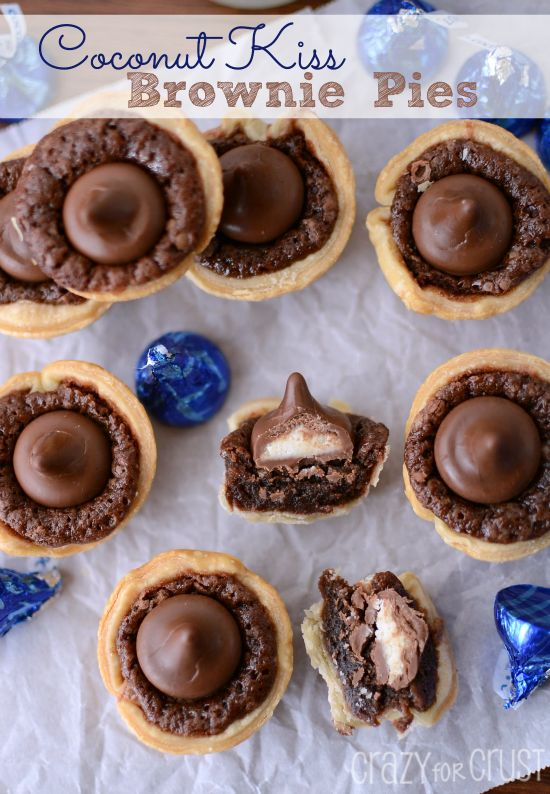 Coconut Kiss Brownie Pies #dessert #recipes #chocolate
